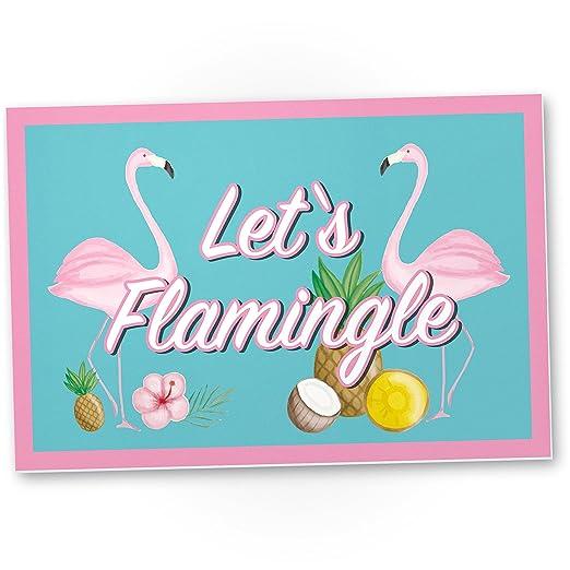 DankeDir!. Let s Flamingle - Flamingo plástico Cartel con ...