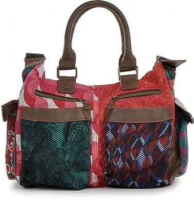 00873fbaf DESIGUAL multi-coloured handbag. Canvas and faux leather. 31x24x11cm.:  Amazon.co.uk: Shoes & Bags