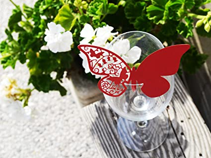 Segnaposto Matrimonio Rosso.50pz Farfalle Segnaposto Segnabicchiere Vari Colori