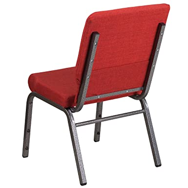 MFO Industrial Strength 18.5W Red Fabric Stacking Church Chair with 4.25 Thick Seat Silver Vein Frame