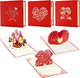 Valentine's Day Pop Up Heart Themed 3D Card with Envelopes (4.75 x 4.75 in, 3 Pack)