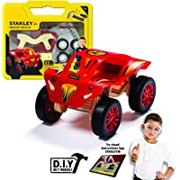 Stanley Jr Monster Truck Wood Building Kit - Woodworking Fun Project DIY Kit for Kids - Easy to Assemble Truck Building Set - Wooden Crafts for Boys and Girls - Paint & Decals Included