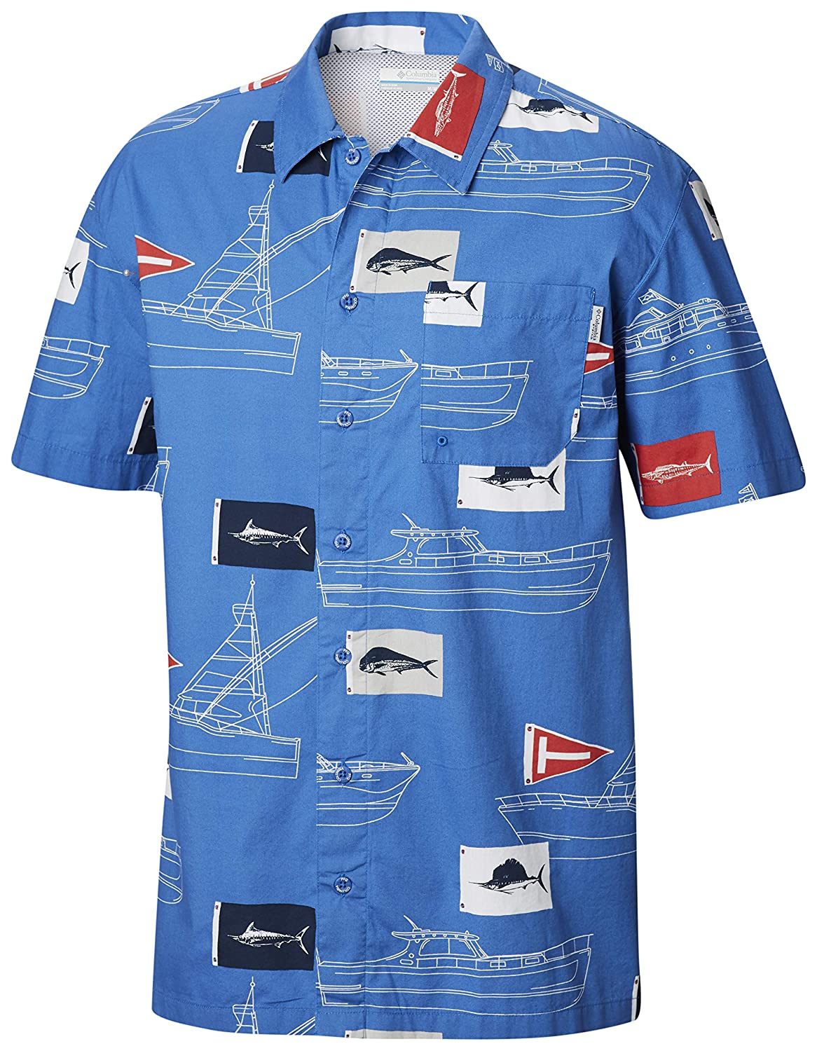 Breathable Columbia PFG Mens Trollers Best Short Sleeve Shirt Button-Up