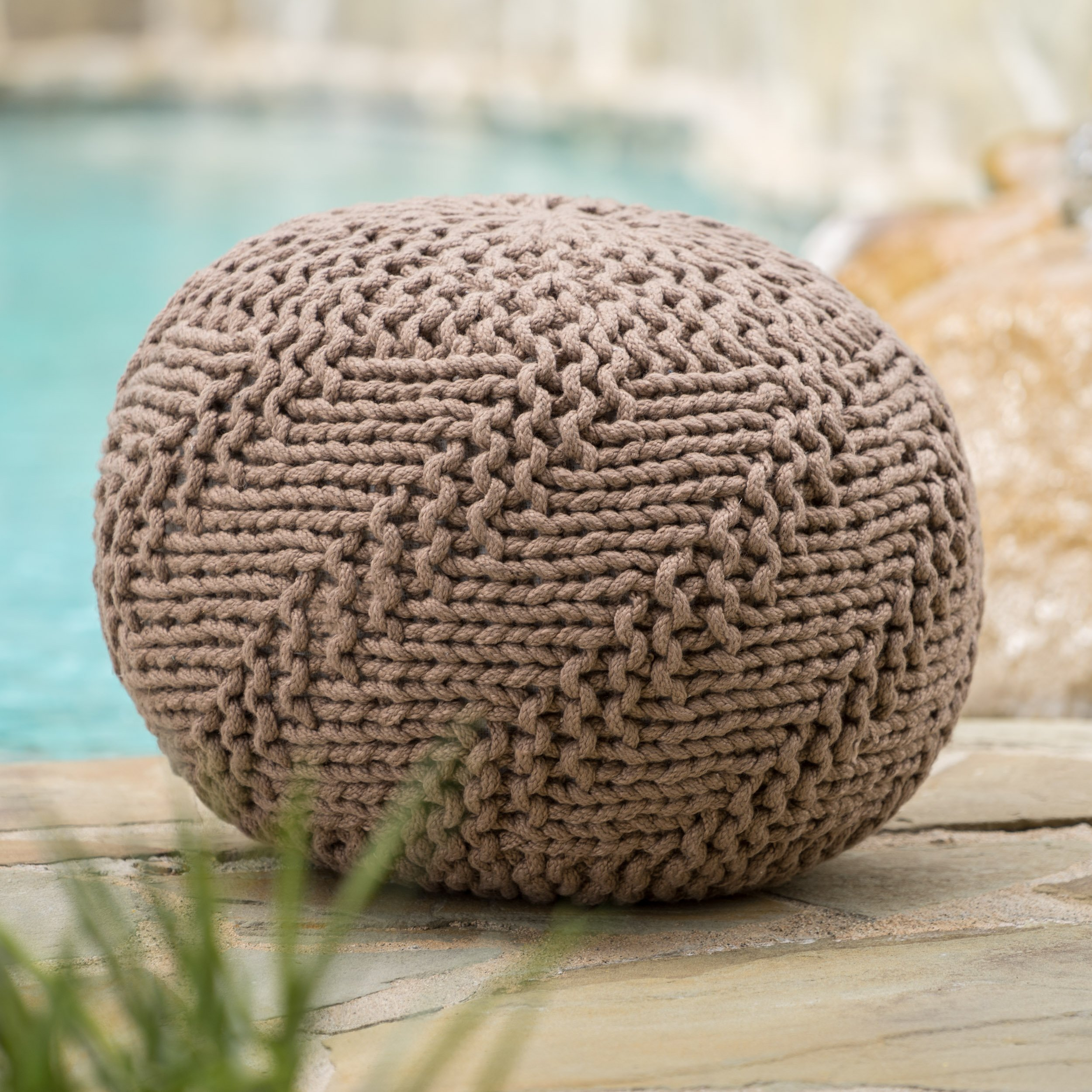 Christopher Knight Home Ashbury Indoor/Outdoor Hand Knit Fabric Weave Pouf (Light Brown)