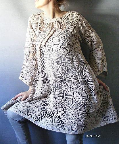 Amazon.com: Crochet boho dress, oatmeal crocheted tunic ...