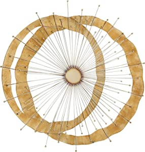 WHW Whole House Worlds Cosmic Burst Modern Metal Wall Decor Sculpture Art, Artisan Crafted, Gold Gilt, Iron, 36.25 x 35.5 Inches (92.0 x 90.0 cm) Vertical or Horizontal Display