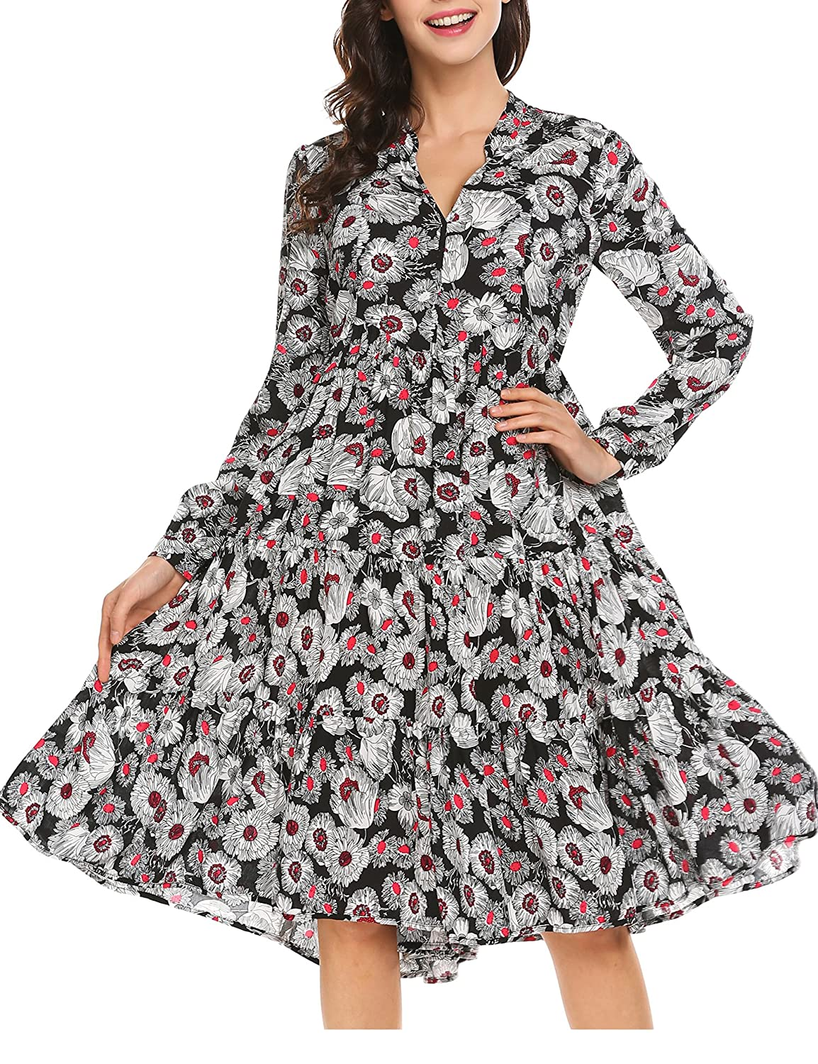 Dear To Me Floral Print Midi Dress with 3//4 Sleeves and Pockets in Navy