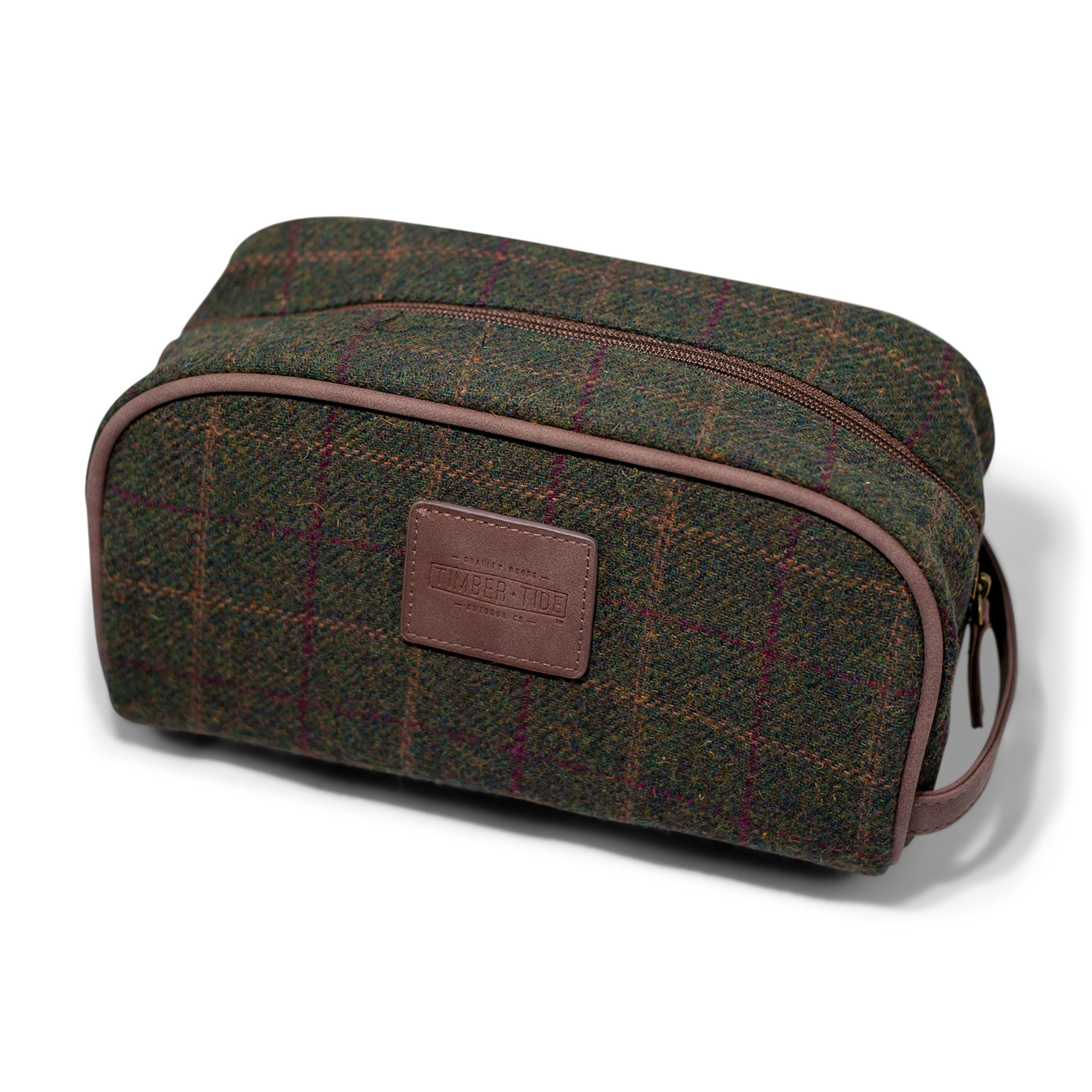 Luxury Toiletry Organizer Bag - Dopp Kit for Travel, Bathroom, Shower, and Shaving - Vintage Gentleman Plaid Exterior with Waterproof Interior - Extra Interior Zippered Pocket for More Storage
