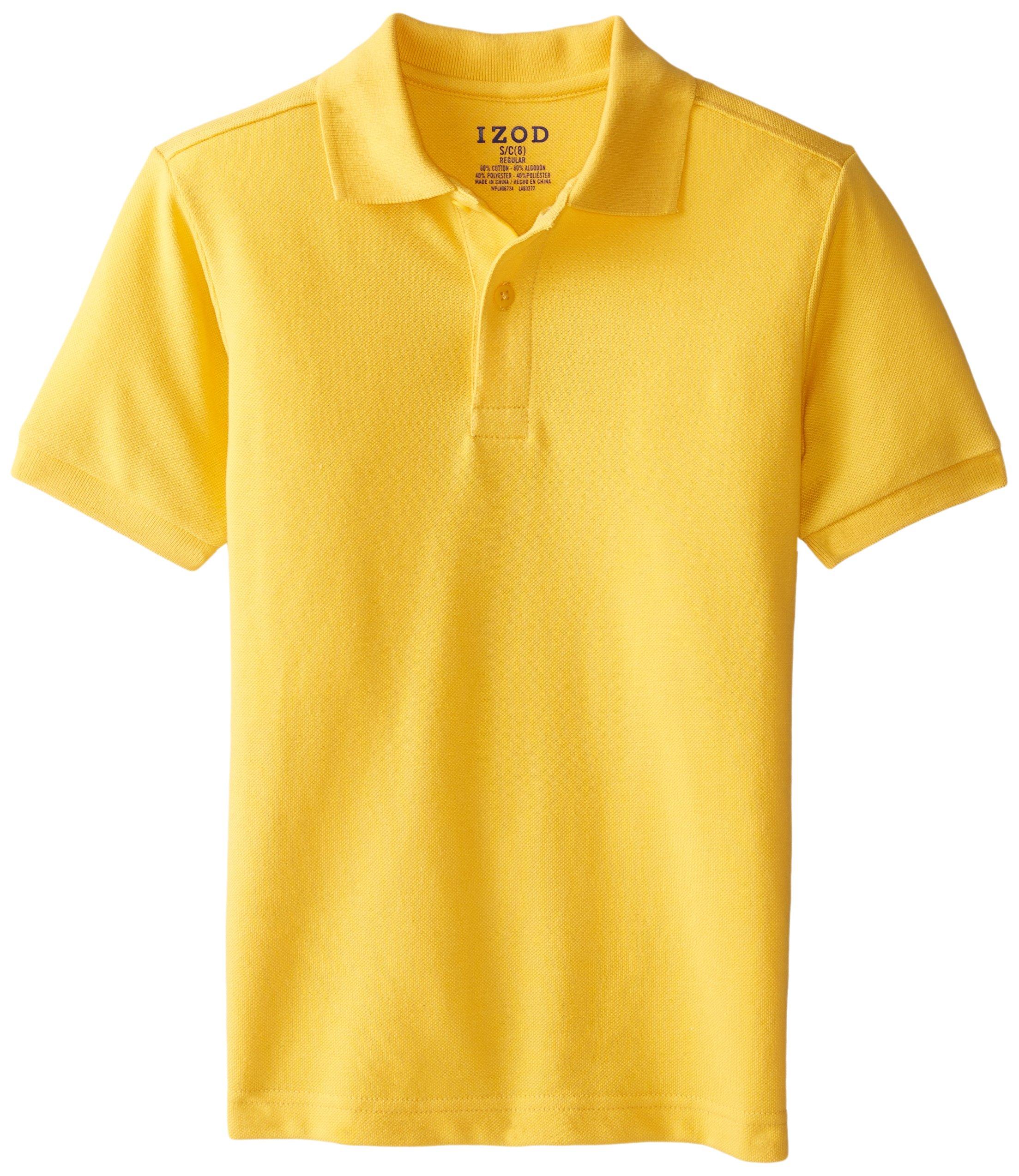 IZOD Big Boys' Short Sleeve Uniform Polo, Gold, Small