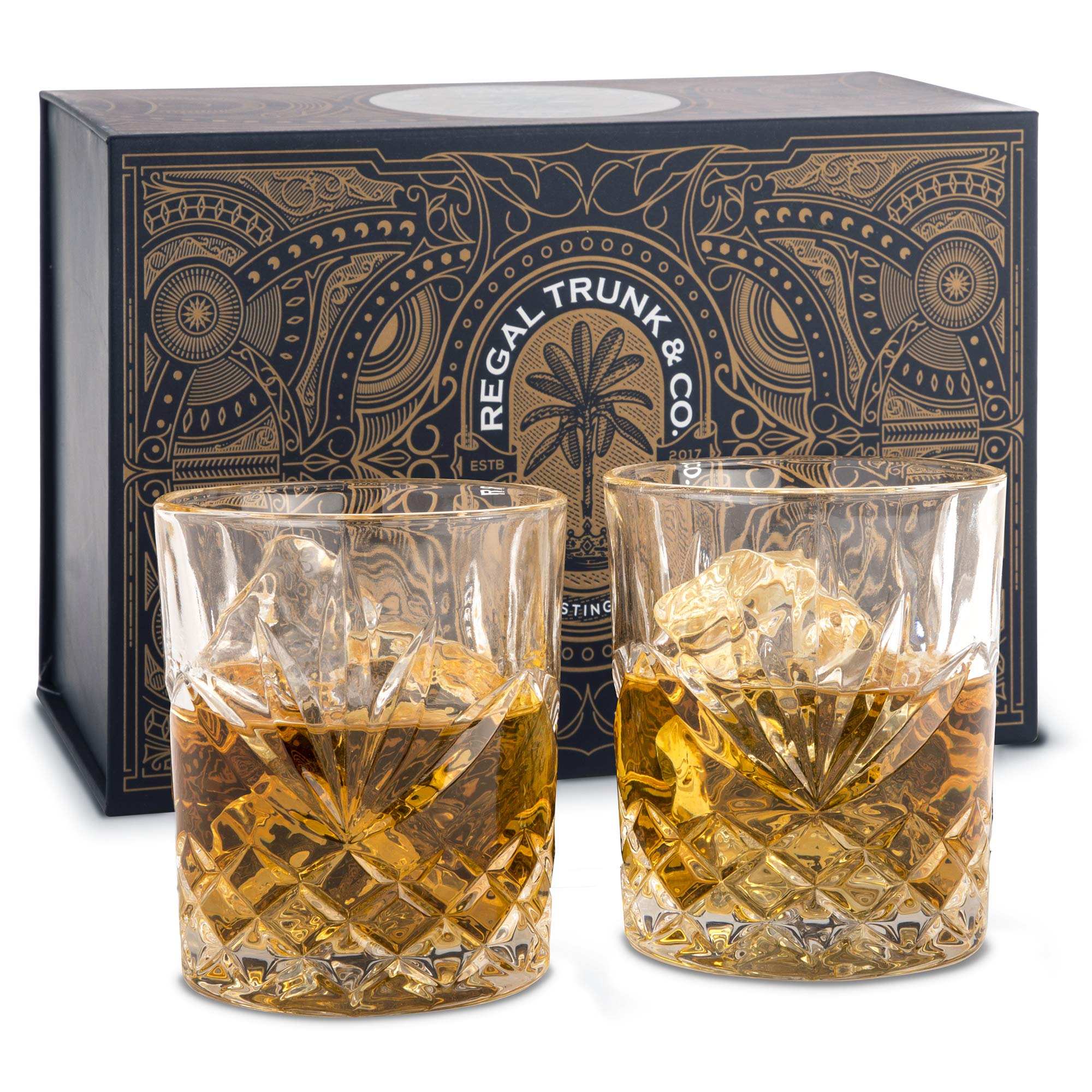 Diamond Cut Whiskey Rocks Glasses Set of 2 - Old Fashioned Lead-Free Crystal Tumblers for Whisky Bourbon Scotch or Rum - Stunning Craftsmanship, Weighted Ergonomic Design - Gift Accessories For Men