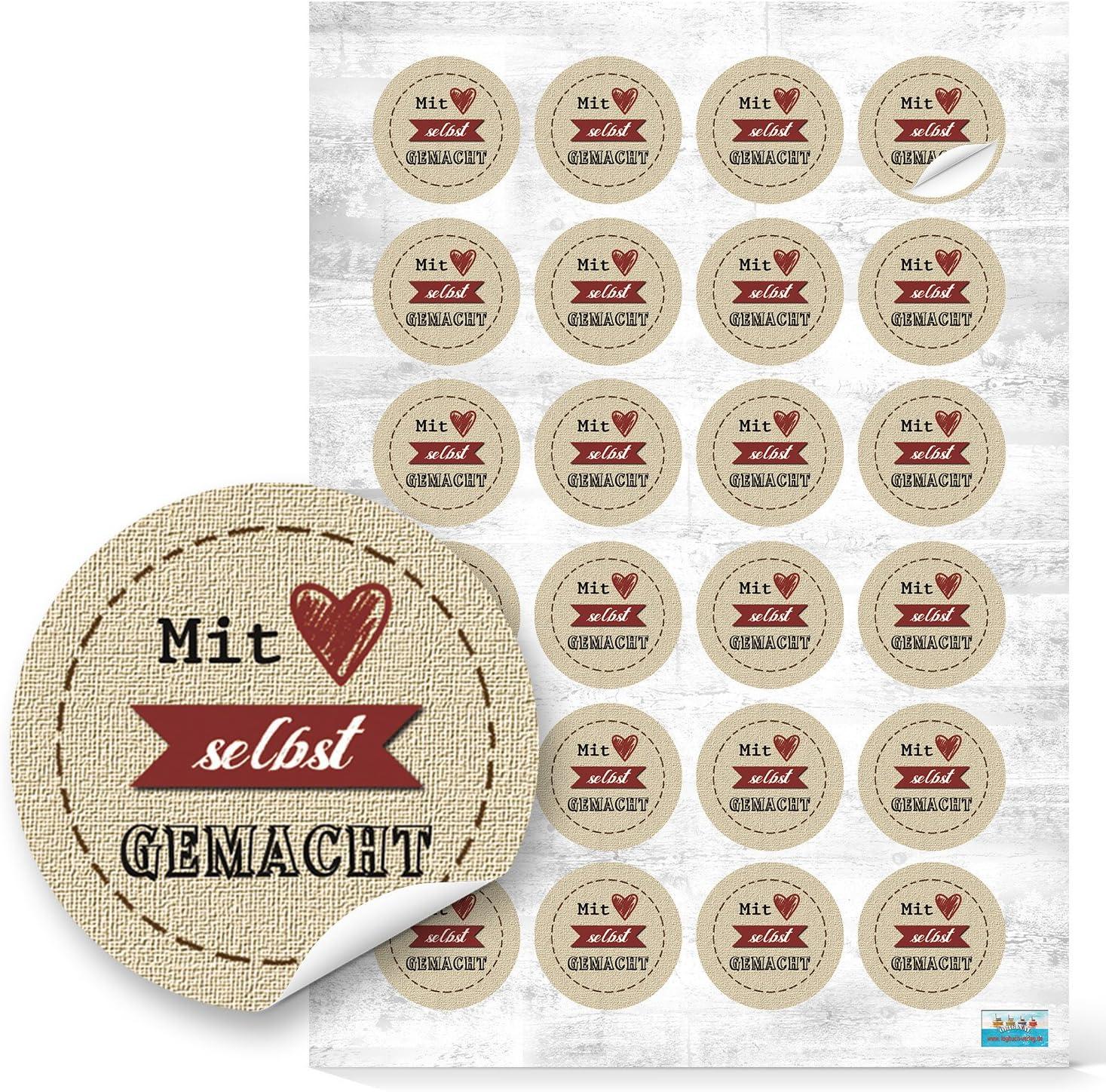 96 St/ück kleine runde Mit HERZ selbstgemacht beige natur rot Kraftpapier Look Aufkleber selbstklebende Etiketten Sticker f/ür give-away Geschenke Pr/äsente Kunden Verpackung wie handgemacht