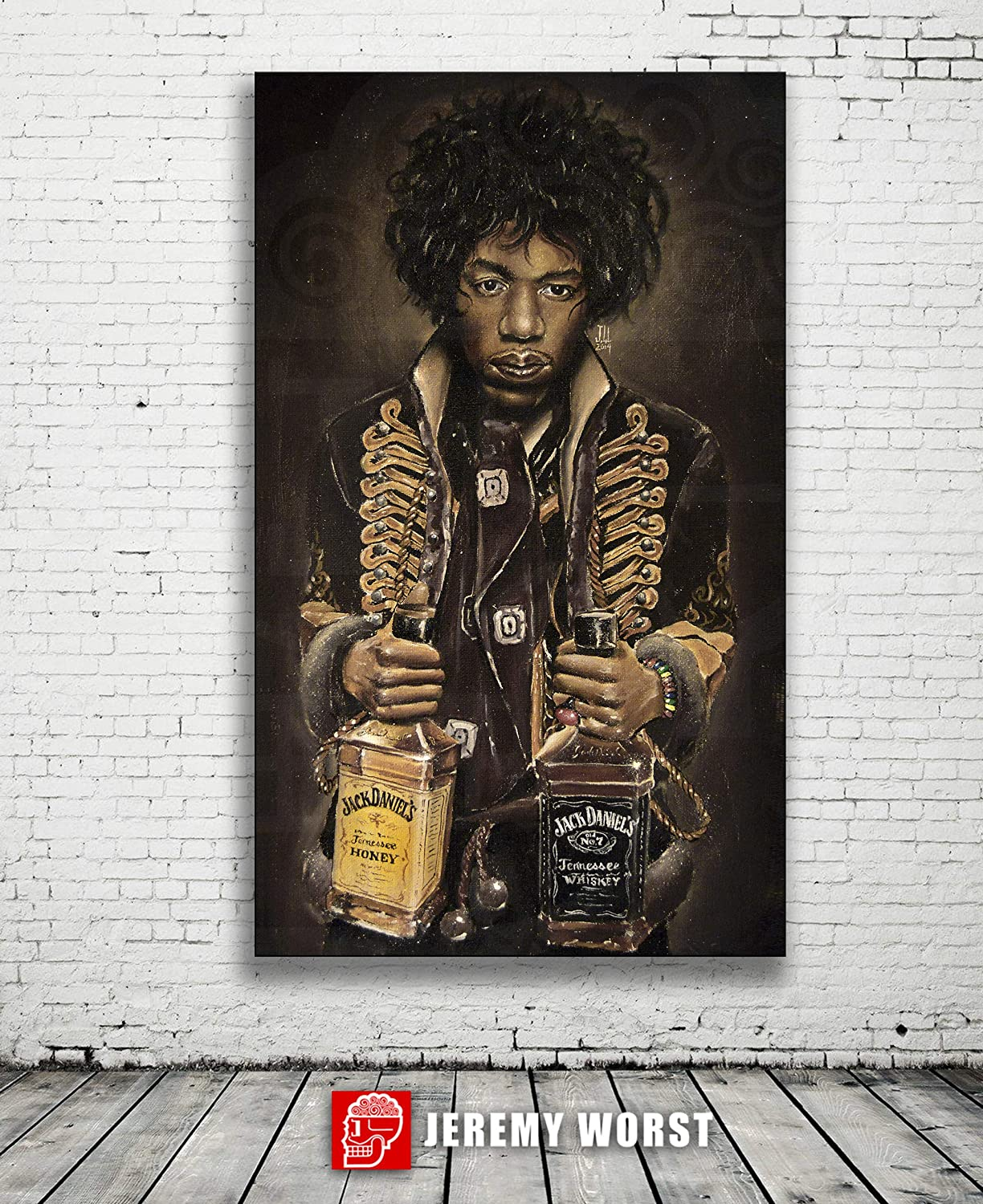 Live band legendary performance Jacket coat scarf pick Ready to Hang Print JEREMY WORSTJimis Jack Jimi Hendrix Poster Jack Daniels Wall Art Canvas On Stage performing Guitar gifts