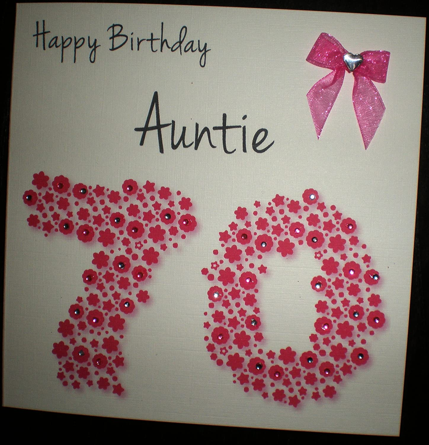 Happy birthday card auntie 70th bright pink flowerbed handmade happy birthday card auntie 70th bright pink flowerbed handmade card amazon kitchen home kristyandbryce Choice Image