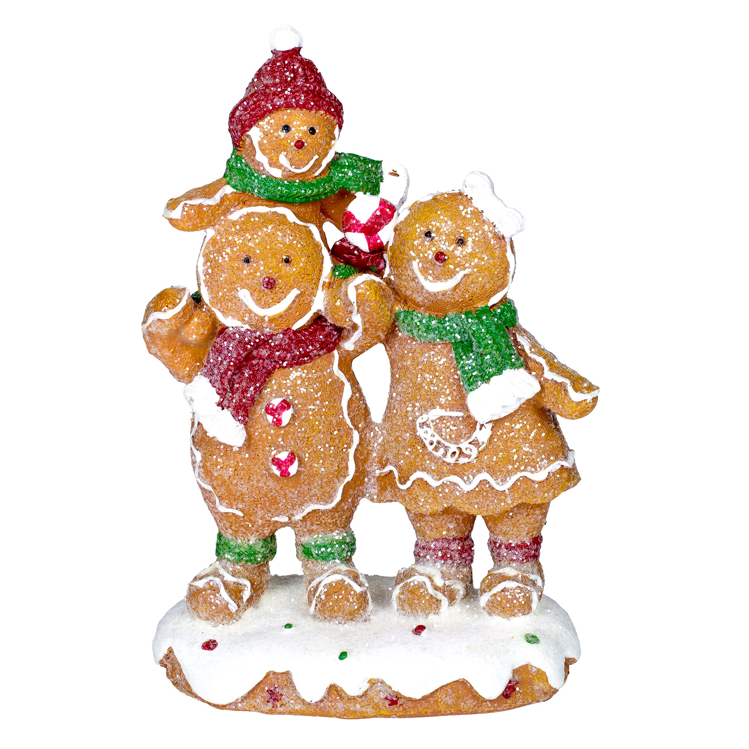 Gingerbread Family Glitter 4.5 x 6 Inch Resin Tabletop Christmas Figurine by Delton Products Corp