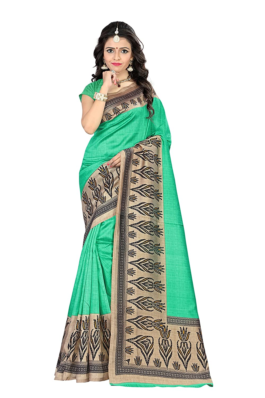 e8b7920741f Amazon.com  Jaanvi Fashion Women s Mysore Art Silk Saree (Printed Green)   Clothing