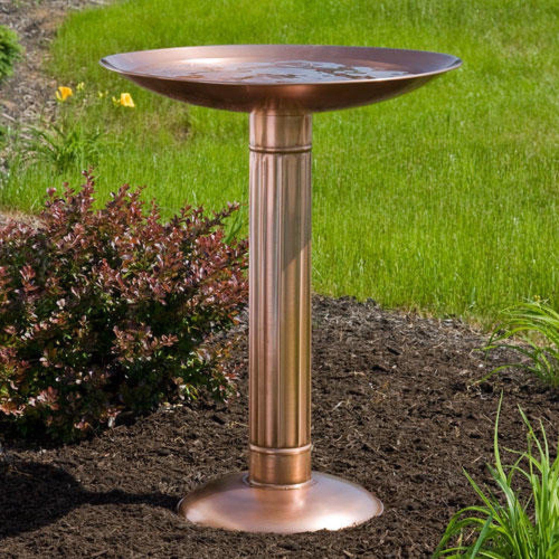 Naiture Pillar Copper Pedestal Birdbath in Antique Copper Finish by SH