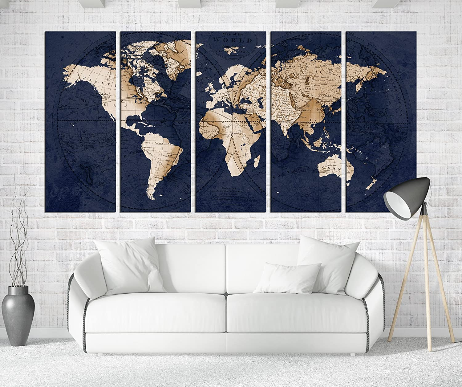 Amazon com navy blue world map canvas art large wall art print framed world map wall big size for living room 5 pieces wall art quotes 774 handmade