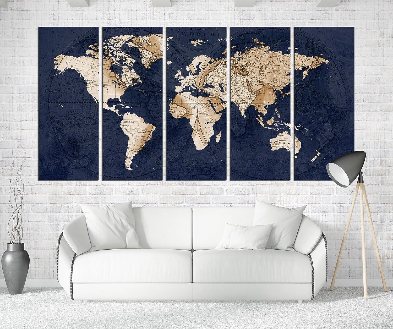 Amazon.com: Navy Blue World Map Canvas Art, Large Wall Art Print ...