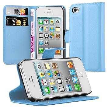 Cadorabo Carcasa para Apple iPhone 4/iPhone 4S Móvil En Pastel Azul Funda con Tarjetero y función Atril Case Cover Carcasa Funda Book Style Pastel de ...
