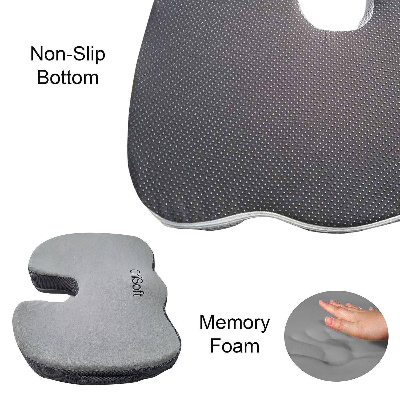 Mejor Premium para el coxis Cojín de asiento (CHISOFT®) - inferior dolor de espalda y la ciática y coxis dolor alivio Plus mejorar postura ortopédica, ...