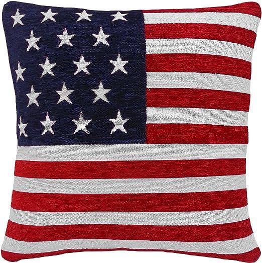 2 x barras y estrellas de la bandera americana tamoxifeno azul Blanco Rojo 45,72 cm Cojín: Amazon.es: Jardín