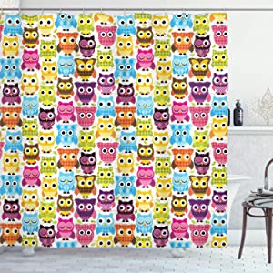 Ambesonne Owls Shower Curtain, Owls with Different Face Expressions Winking Looking Sleeping Colorful Playful Design, Cloth Fabric Bathroom Decor Set with Hooks, 70