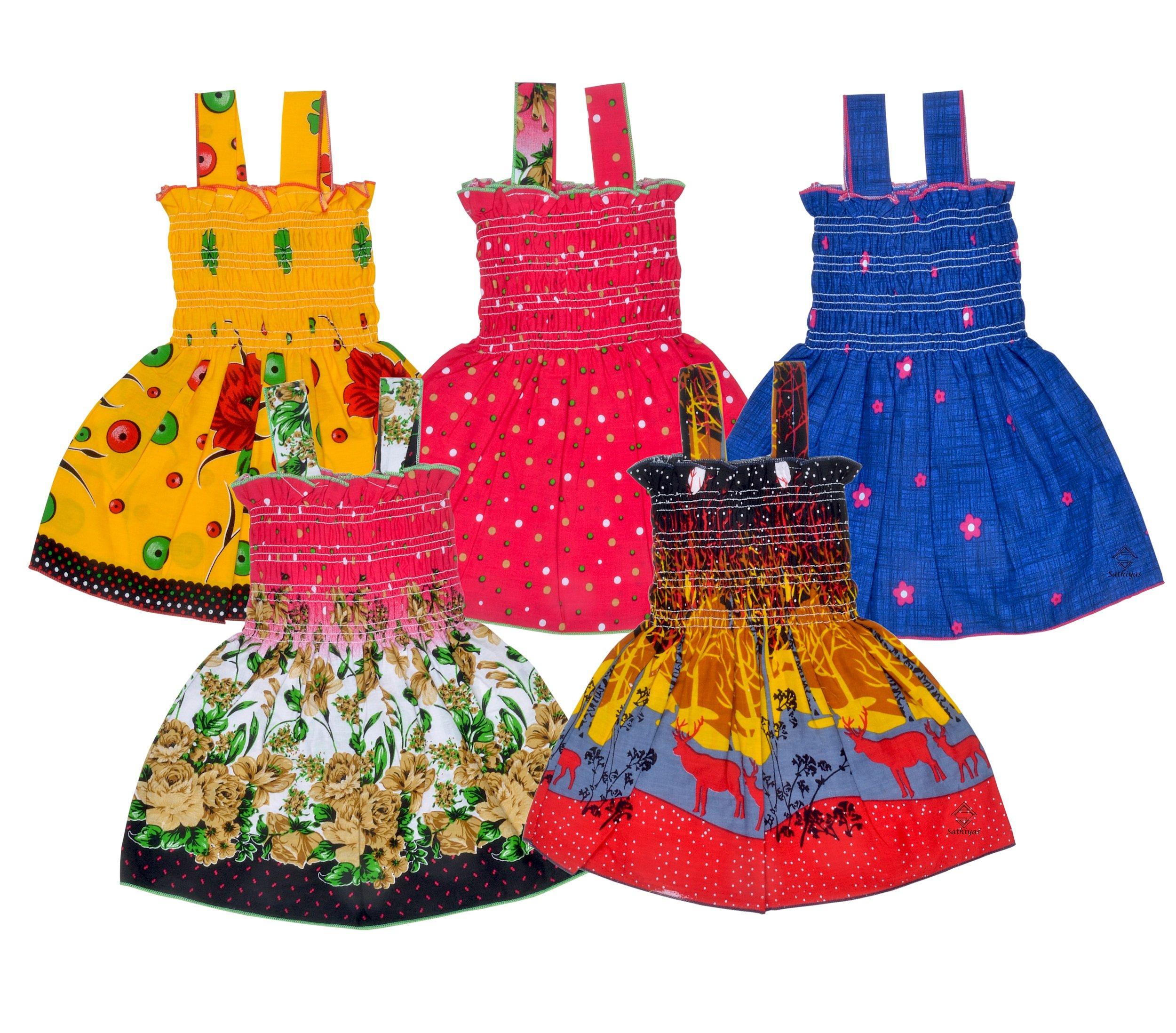 Sathiyas Baby Girls Cotton Gathered Dresses (Multicolor, Set of 5) product image