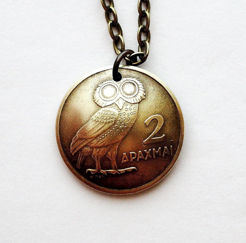 Amazon Com Greek Owl Domed Coin Necklace Phoenix Pendant 2