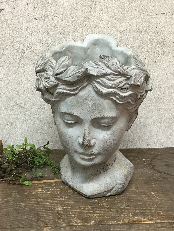 Frauenkopf als Pflanzgef/ä/ß klassisches Design Vintage Keramik grau Exner B/üste VALO