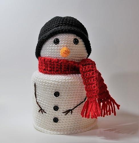 amazon com handmade crochet snowman toilet paper cover handmade