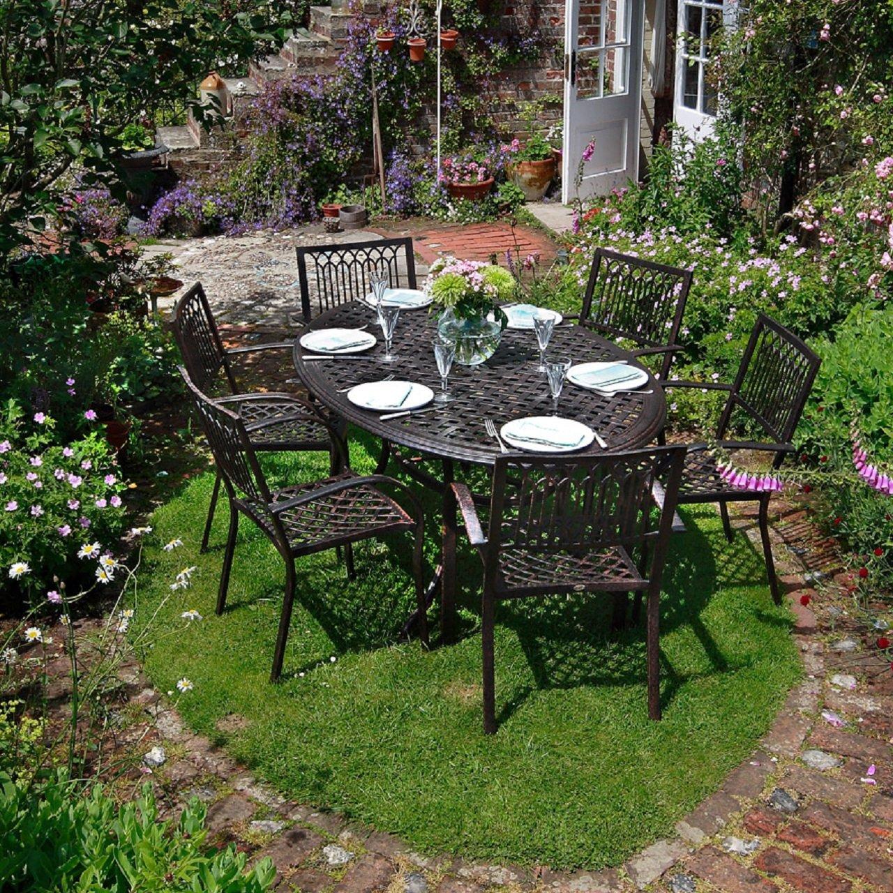 Nicole 180cm Ovales Gartenmöbelset Aluminium - 1 NICOLE Tisch + 6 MARY Stühle