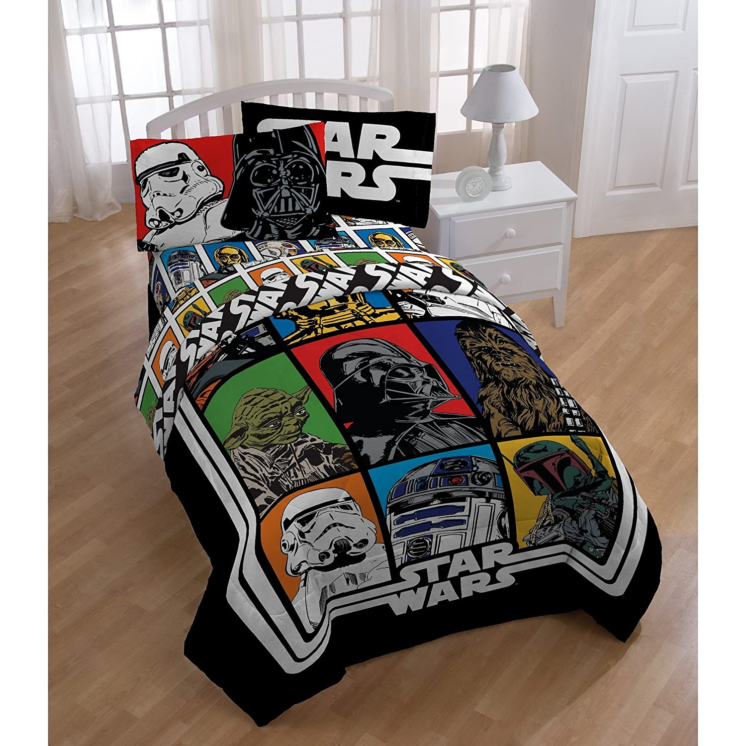 1 Piece Kids Black White Star Wars Movie Themed Comforter Twin Full, Classic Movies Series Patchwork Bedding, Darth Vader R2D2 Stoormtrooper Yoda Chewbacca Character Patch Work Pattern, Blue Red Green