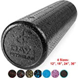High Density Muscle Foam Rollers by Day 1 Fitness - 4 Sizes (12,18,24,36) & 7 Colors - Sports Massage Rollers for Stretching, Physical Therapy, Deep Tissue and Myofascial Release - Ideal for Exercise and Pain Relief
