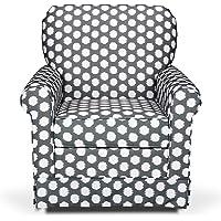 Storkcraft Polka Dot Upholstered Swivel Glider, Gray/White, Cleanable Upholstered Comfort Rocking Nursery Swivel Chair