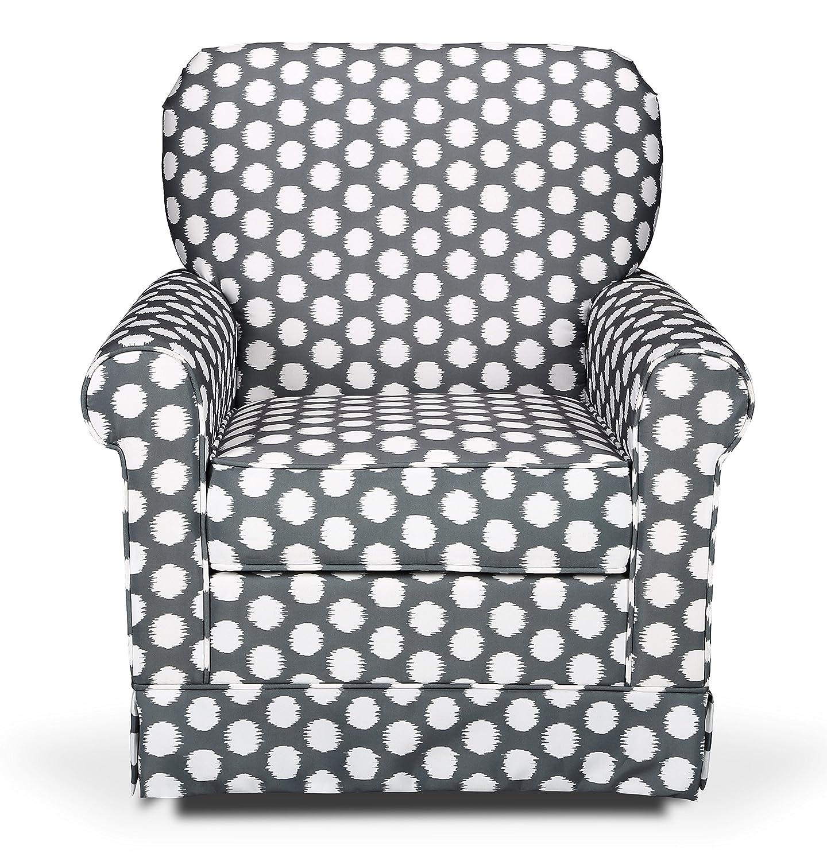 amazon com stork craft polka dot upholstered swivel glider gray