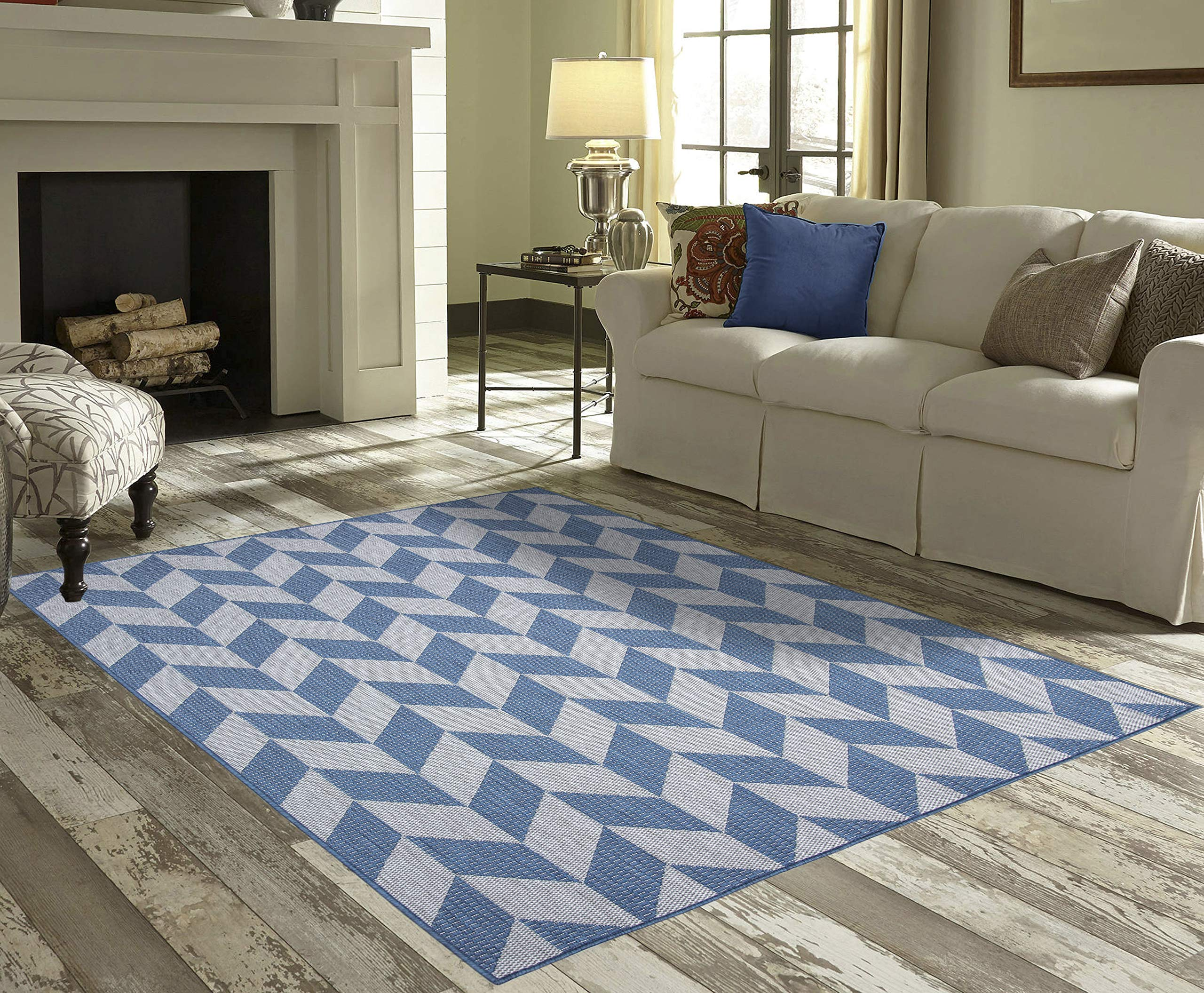 PRIYATE Florida Collection All Weather Indoor/Outdoor Geometric Triangle Rug for Living Room, Bedroom, and Dining Room (7'10'' x 10', Blue)