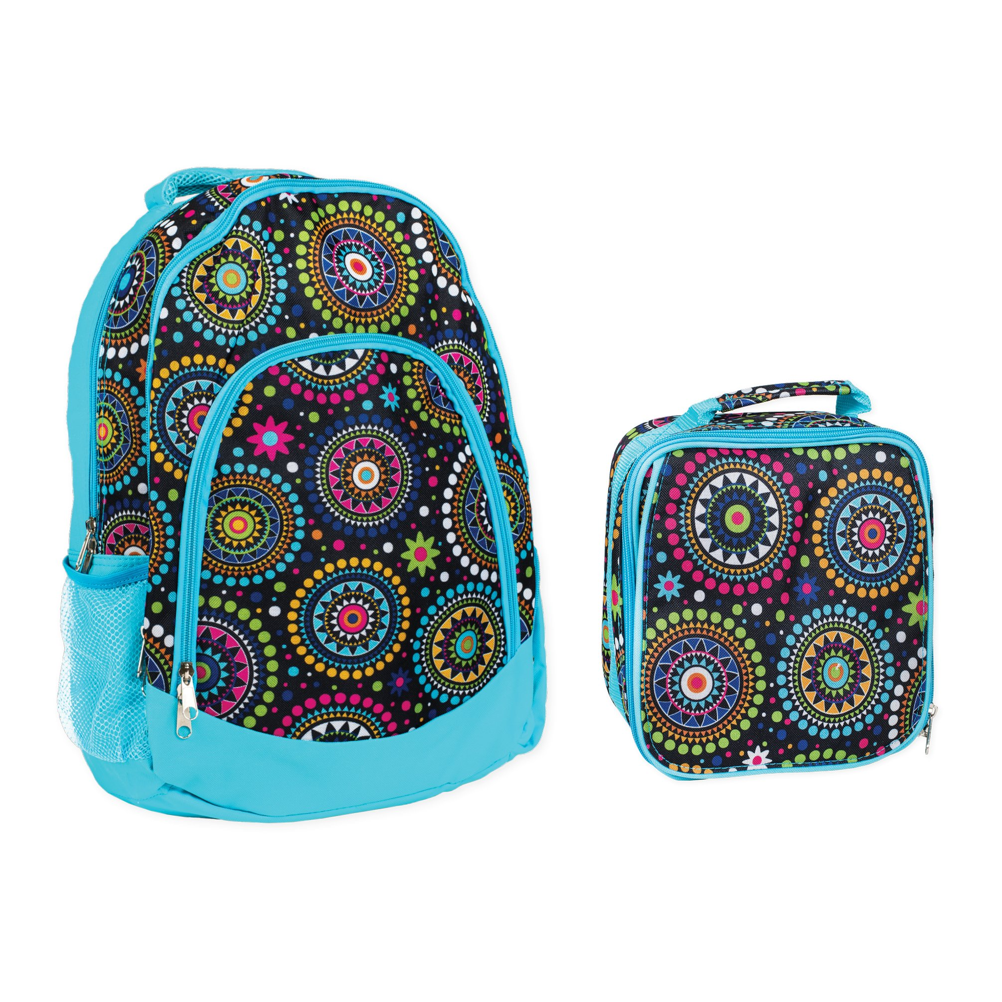 Reinforced Water Resistant School Backpack and Insulated Lunch Bag Set - Blue Vibrant Medallion by Class Collections