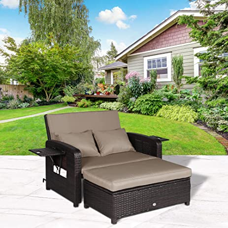 cloud mountain 2 piece patio wicker rattan love seat sofa daybed set outdoor patio love seat