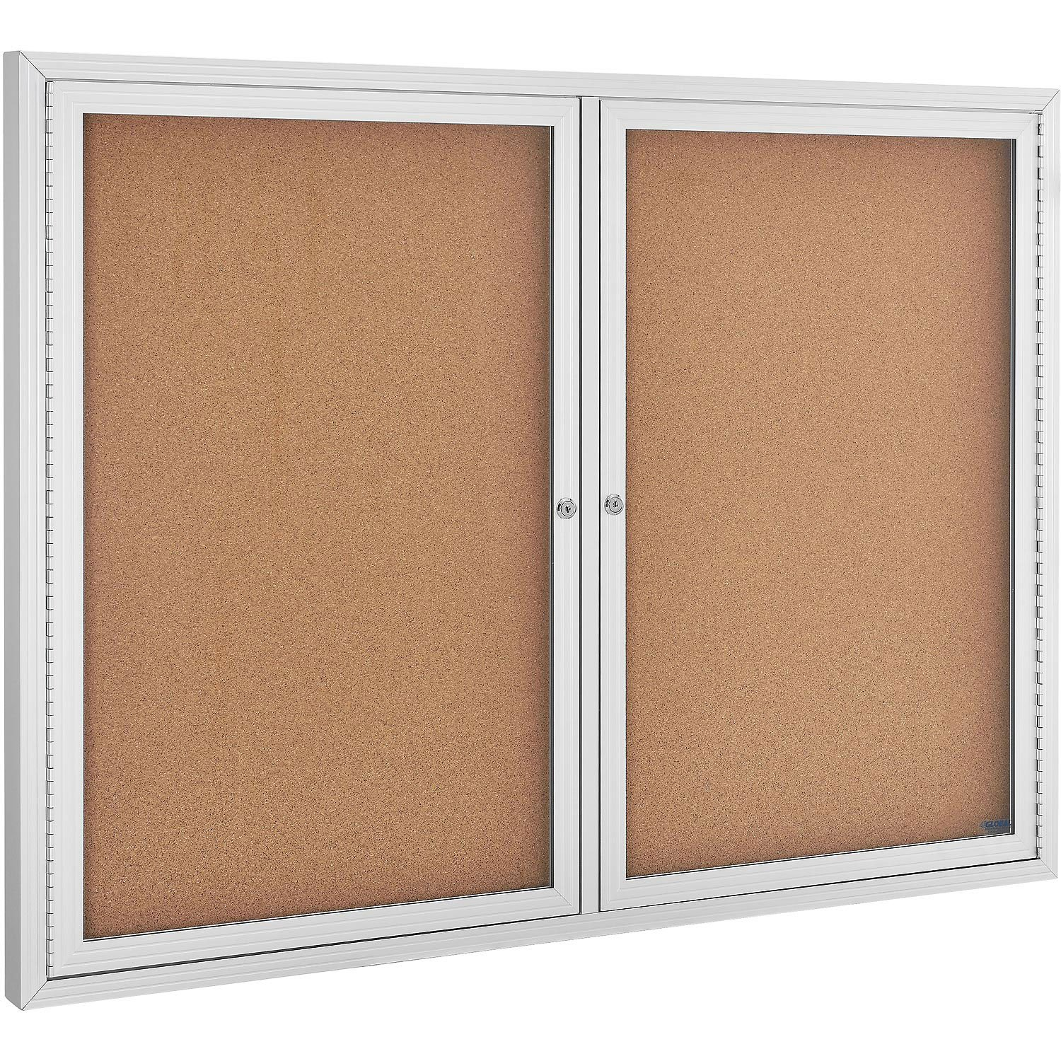 Enclosed Bulletin Board - Cork - Aluminum Frame - 48'' x 36'' - 2 Door