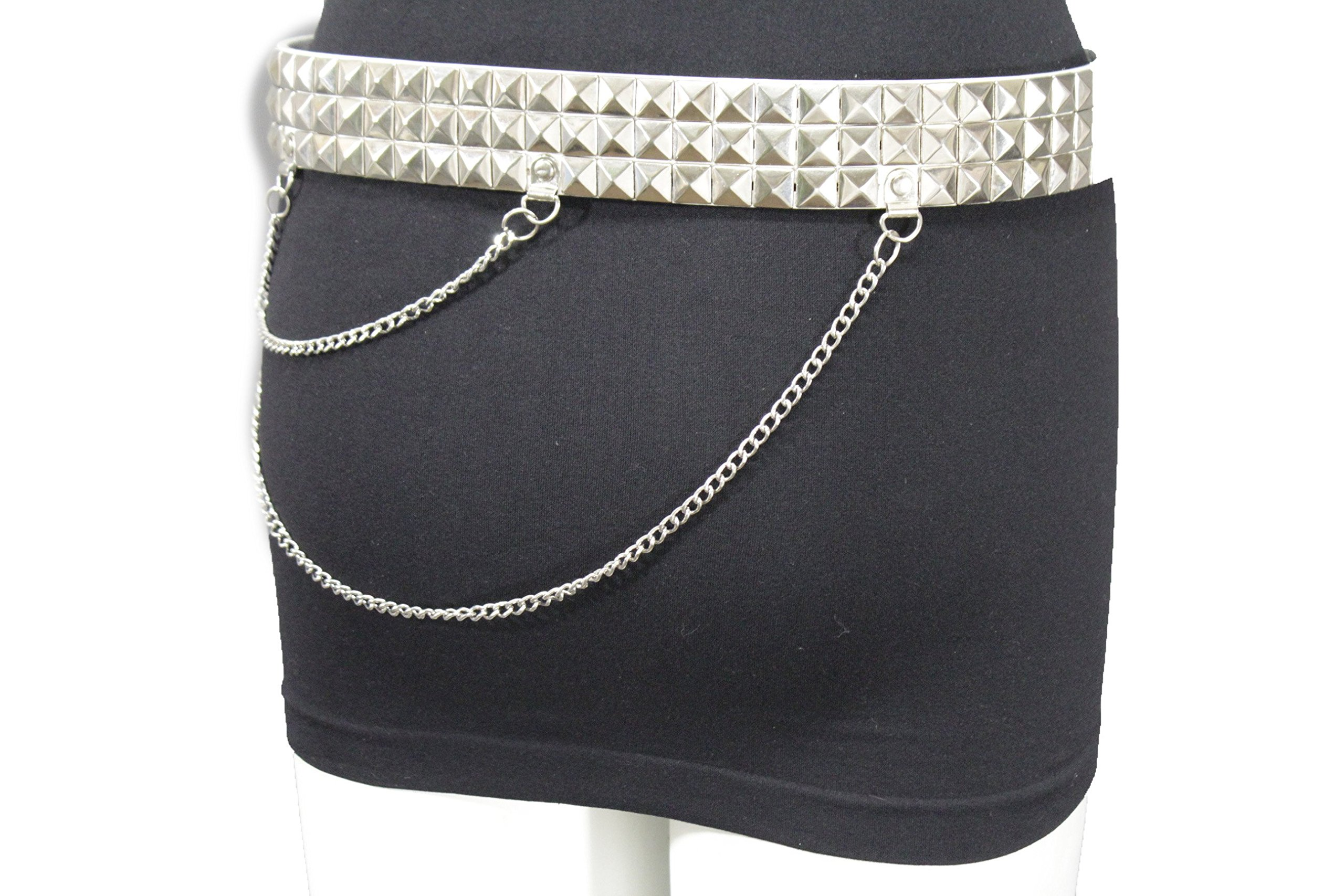 TFJ Women's Rocker Fashion Belt Silver Metal Chain Pyramid Stud Buckle S M L XL Black (White - XL 41''-46'')