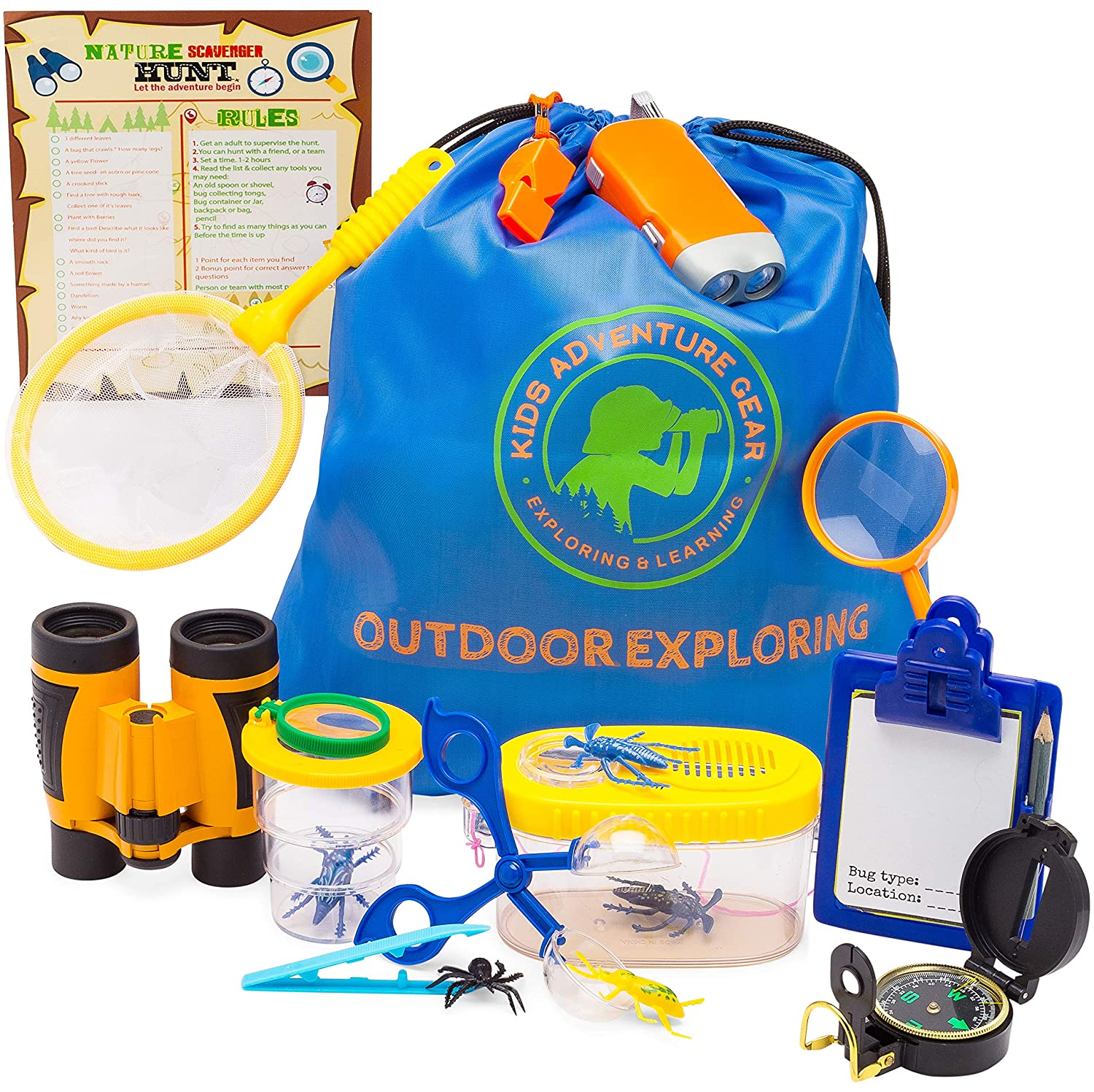 Educational Scavenger Hunt Outdoor Exploration Kit for Kids Magnifying Glass Flashlight Girls Camping Backpack Great Gift for Boys Bug Catcher Compass Hiking Whistle Set of Binoculars