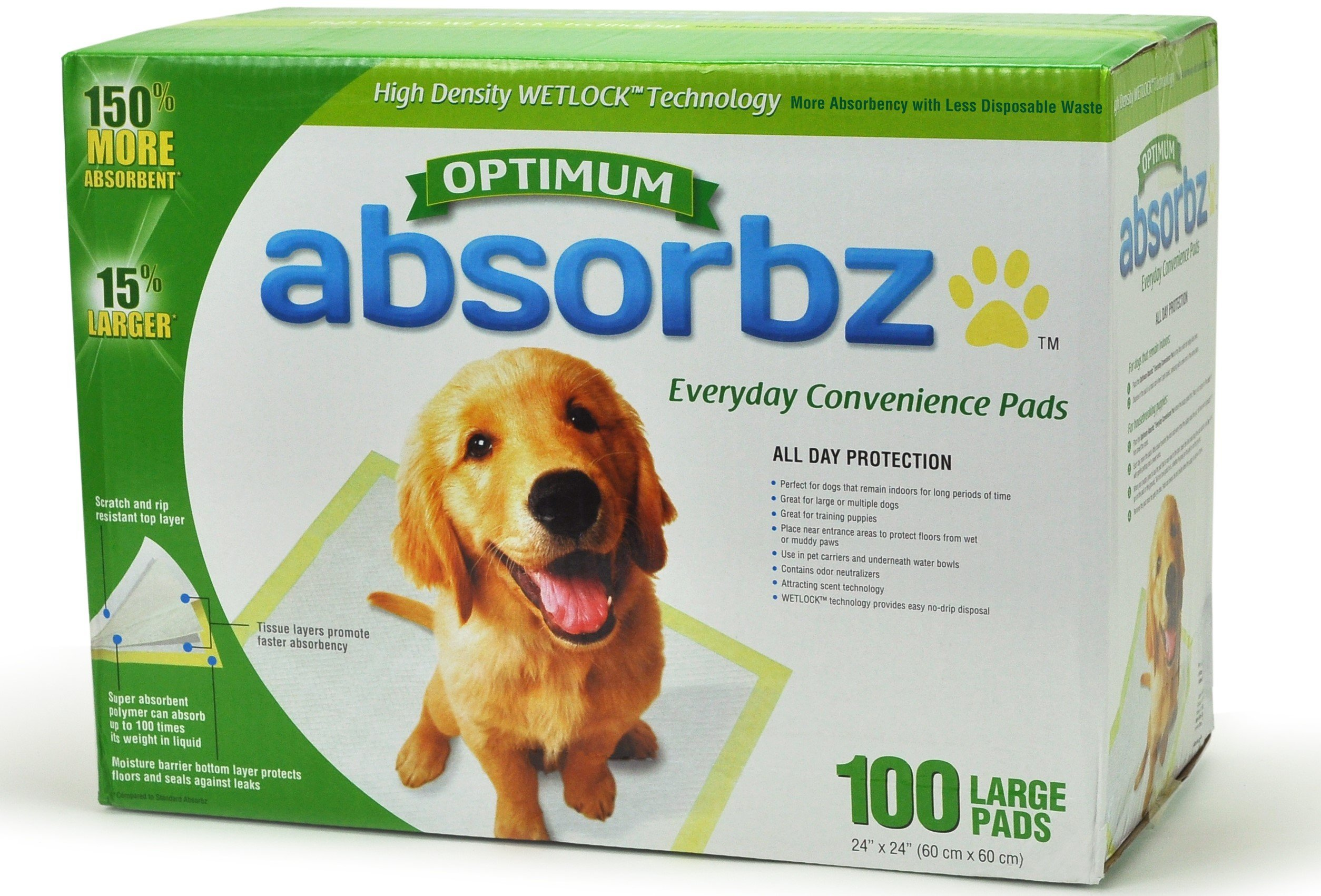 Absorbz Optimum Training Pads for Dogs, 100 ct. Large 24''x24'' Pads