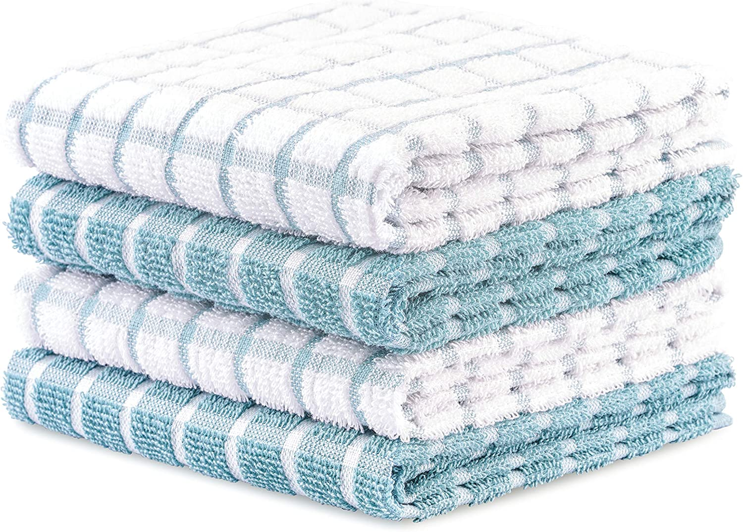 DAILY HOME ESSENTIALS - 4 Pack Cotton Terry Kitchen Dish Towel Set (16x26 Inches - Aqua, Checked Design) |Super Soft and Highly Absorbent|Perfect for Everyday Household & Commercial Use