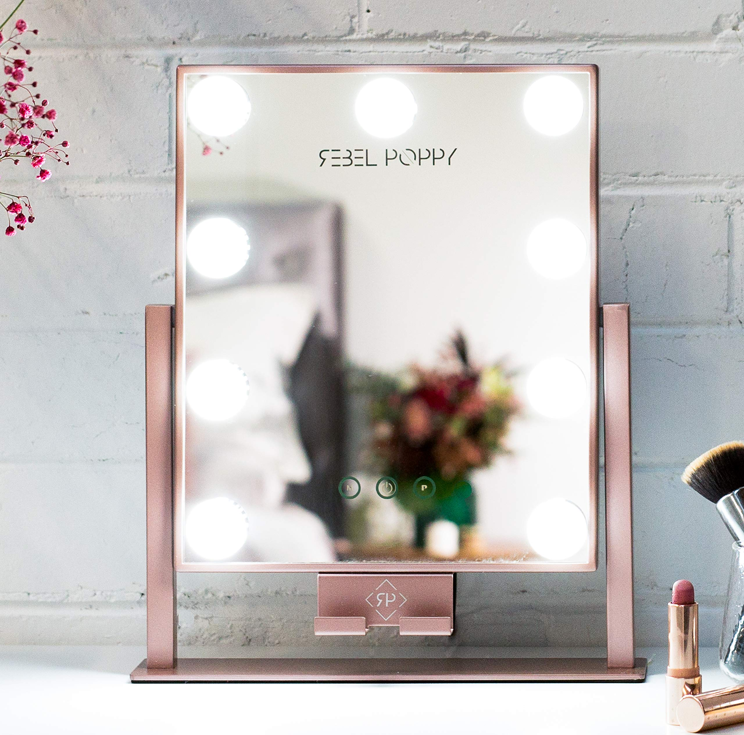 Rebel Poppy Lighted Makeup Mirror - Vanity Mirror with Lights, Phone Holder with 3 Colour Touch Control, Replaceable and Dimmable LED Bulbs, Hollywood Style Vanity Mirror, Rose Gold by Rebel Poppy