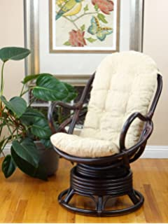 Peachy Amazon Com Java Swivel Rocking Rattan Wicker Chair Cream Pabps2019 Chair Design Images Pabps2019Com