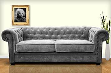 Chesterfield Style Sofa Bed Venus 3 Seater 2 Seater Fabric Grey Settee  (2seater, Grey): Amazon.co.uk: Kitchen U0026 Home