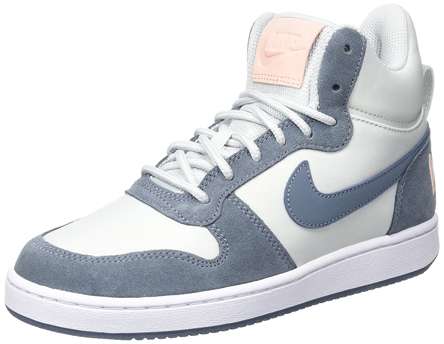 Nike W Court Borough Mid Prem, Zapatillas de Gimnasia Para Mujer 38.5 EU|Blanco (Pure Platinum/Armory Blue/White/Sunset Tint)