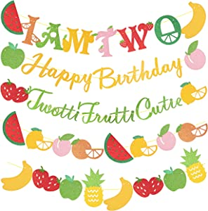Twotti Fruiti Birthday Decoration Party Supplies, Tutti Frutti Party Decorations Set, Twotti Frutti Glitter Banners for Twotti Fruity Second Birthday Party, 2nd 2 Girl Fruit Birthday Party Decorations