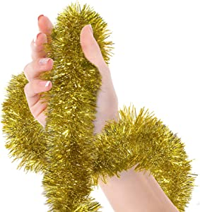 Christmas Tree Gold Tinsel Garland Metallic Streamers Celebrate a Holiday New Years Eve Happy Party Ceiling Hanging Decorations Indoor and Outdoor Disco Party Supplies