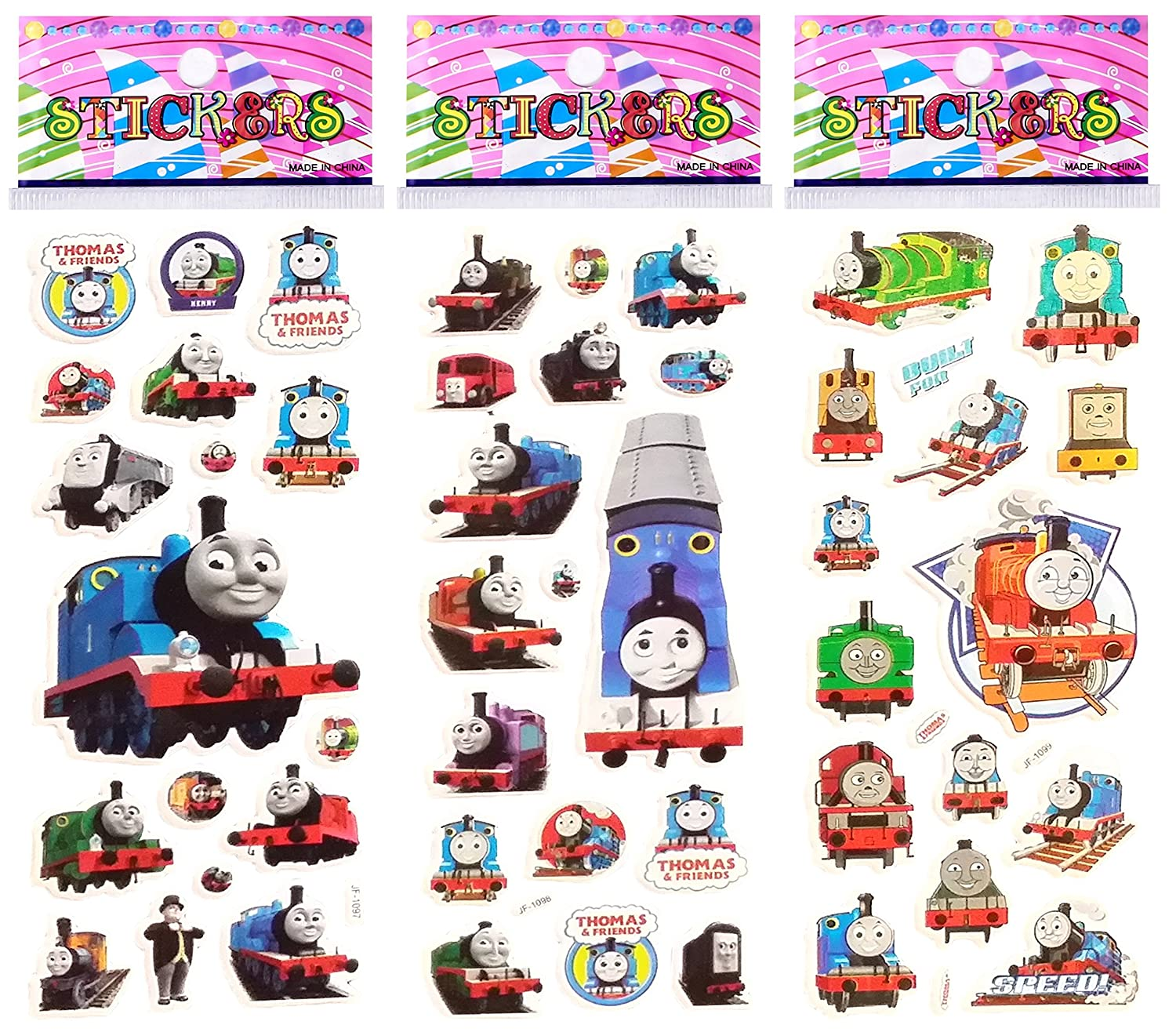 3 Sheets Puffy Dimensional Scrapbooking Party Stickers-FREE USA SHIPPING THOMAS THE TANK TRAIN Stickers Forever